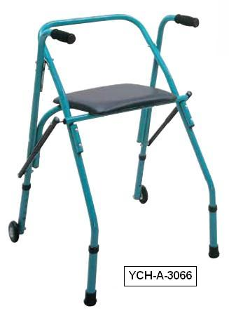 YCH-A-3066 Walking Aid Aluminum Folding Walker with 2 Casters- Walker