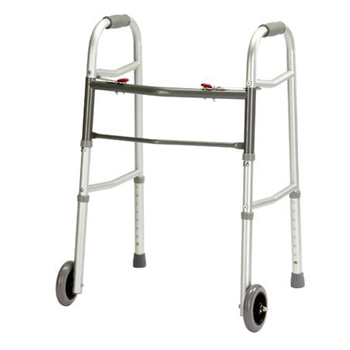 YCH-7012W Walking Aid Two Button Folding Walker W/ Wheel- Walker