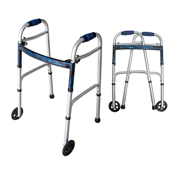 "YCH-06W05R02 Walking aid 2 in 1 walker-two button walker(Adult/Junior) w/5"" front wheels- Walker"